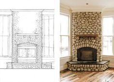 Home River Rock Fireplace Design Pictures Remodel Decor and