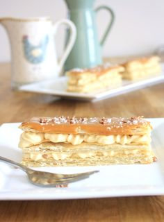 Salted Caramel Mille Feuille or French Napoleans are layers of puff pastry sandwiched with a caramel custard and topped with caramel icing. Salted Caramel Icing, Custard Slice, Baking Parchment, Tart, French, Desserts, Food, Tailgate Desserts, Essen