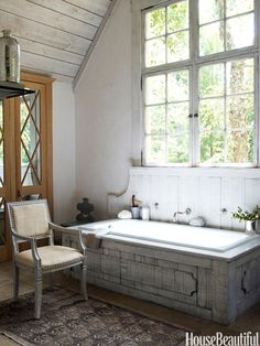 Barn-inspired bath.