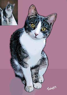 Ritratto di gatto personalizzato  Illustrazione