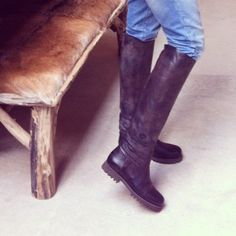 High black leather Shabbies Amsterdam boots, instagram by @brittvdeeckhout