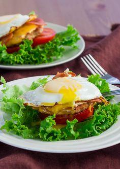 Breakfast Turkey Stacks - never underestimate the power of a healthy breakfast, turkey patties, swiss cheese, turkey bacon and eggs = winner!