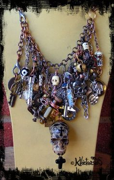Day of the Dead Charm Bracelet is Made From Found Objects and Can Convert to a Necklace - Karen Hickerson Altered Art