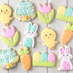 Fancy Cookies, Iced Cookies, Holiday Cookies, Sugar Cookies, Sugar Cookie Royal Icing, Cookie Frosting, Easter Cupcakes, Easter Cookies, Easter Biscuits
