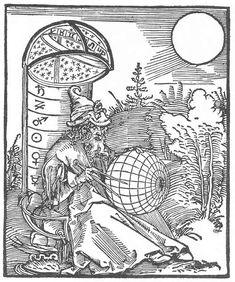 DÜRER, Albrecht Astronomer 1500 Woodcut British Museum, London