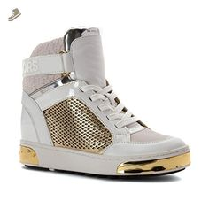 MICHAEL Michael Kors Women's Pia High Top Optic/Pale Gold Embossed Sport Suede 9 M - Michael kors sneakers for women (*Amazon Partner-Link)