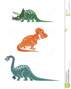 Colorful cartoon dinosaurs collection with triceratops, tyrannosaurus and diplodocus