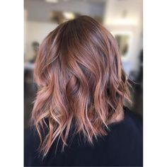 Image result for rose gold hair brunette angled bob