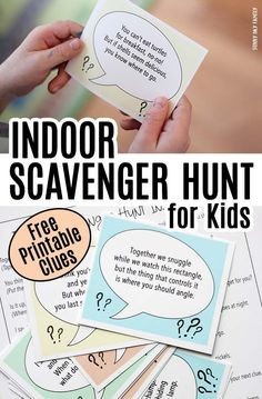 Follow the clues to find a fun surprise with this FREE printable indoor scavenger hunt for kids! Includes 10 clues and 2 blank cards to customize your own. Perfect rainy day activity for kids, playdate activity, or fun for a kids birthday party idea!