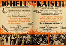 To Hell with the Kaiser! is a lost 1918 silent war propaganda comedy film produced by Screen Classics Productions and distributed by Metro Pictures. It was directed by George Irving and starred Lawrence Grant as the Kaiser. Made toward the close of World War I, this film falls in line with other films of this popular genre, the wartime propaganda film, made at the same time i.e. The Kaiser, Beast of Berlin, Yankee Doodle in Berlin, Hearts of the World, The Heart of Humanity,