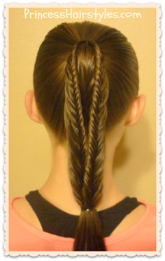 Split fishtail braid ponytail tutorial.