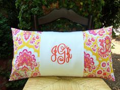 Monogram Pillow  Dorm Bedding  College Bedding  Two or by IvyHalls, $38.00