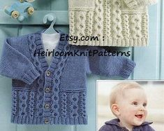 Baby Cardigans Sweater Vintage Knitting Pattern DK 4Ply | Etsy Baby Cardigan Knitting Pattern, Knitted Baby Cardigan, Toddler Sweater, Cable Sweater, Baby Knitting Patterns, Baby Patterns, Sweater Cardigan, Knitted Dolls, Knitted Hats