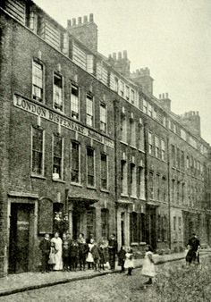 Silk-weavers houses in Church Street, Spitalifields Note the wide attic windows, necessary to grab every minute of daylight. The London Dispensary is at My Grandmother could be in this photo! Victorian London, Vintage London, Old London, Victorian Life, London History, British History, Local History, Family History, London Life