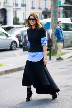love the contrast of hems. layering a button down done right Christine Centenera. #streetstyle