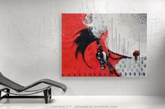 """office decor abstract wall art Large Painting """"Abstract 7"""" Modern red Acrylic on canvas black white KSAVERA for Lounge gift for him dad by KsaveraART #TrendingEtsy"""