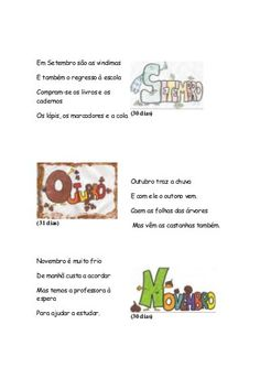 Meses do ano... Brazilian Portuguese, Printables, Teaching, Writing, 1, Children Rhymes, Kids Story Books, Activity Books, Reading Activities