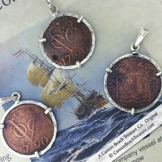 Like Pirates of the Caribbean, the Dutch and British East India Trading Companies ruled the seas from 1600 to the mid 1800s. These coins were recovered by Cannon Beach Treasure Company owner Robert Lewis Knecht from the waters of Galle Harbor, Sri Lanka.  How they got there is a fascinating story…  Dutch East India Company Shipwreck Coin Silver Pendant - Cannon Beach Treasure Company