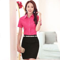 Women's rose red #short sleeve #shirt pleated casual office working style, Rolled sleeve, lapel collar.