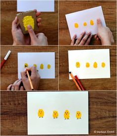 So einfach geht's: DIY-Osterkarten selber basteln Here we show you how to make cute DIY Easter cards Easter Card Sayings, Diy Easter Cards, Diy Cards, Easter Art, Hoppy Easter, Easter Crafts For Kids, Diy For Kids, Decoration Creche, Party Decoration