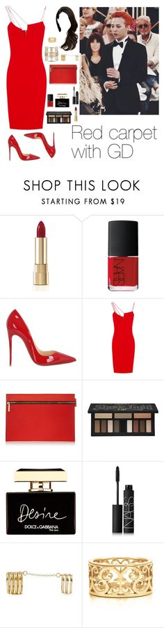 """""""Red carpet with GD"""" by esthephaniax ❤ liked on Polyvore featuring Dolce&Gabbana, NARS Cosmetics, Christian Louboutin, Victoria Beckham, Kat Von D, GUESS, Tiffany & Co., RedCarpet, bigbang and GD"""