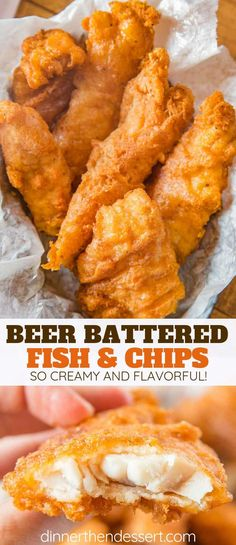 Beer Battered Fish made with fresh cod filets dipped in seasoned beer batter and fried until golden brown and crispy, EASY to make and ready in only a few minutes! #fish #fishandchips #friedfoods #fry #cod #crispy #dinner #cooking #dinnerthendessert