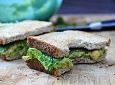 vegan chickpea and avocado salad sandwich.