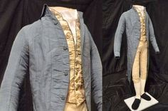 Revolutionary War Patriot Samuel Cutts & His 1780s Suit. There is a narrow cut to blue silk coat with its matching buttons. The fabric for the coat likely English, but cut and tailored in New England/New Hampshire; elaborate silk brocade waistcoat was probably pieced together from a kit. Slim cut breeches underscored that this was not a man not involved in physical labor. The ensemble emphasized a lean silhouette. More: http://www.silkdamask.blogspot.co.nz/…/revolutionary-war-pa… Via…