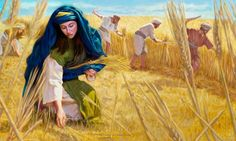 Ruth humbly picking up barley behind the workers in the field to support herself and Naomi.