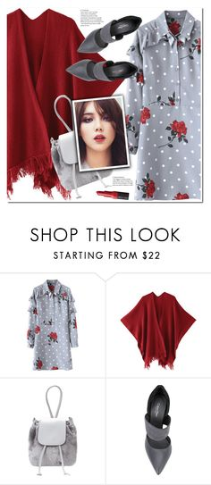 """Gray and red"" by duma-duma ❤ liked on Polyvore featuring Calvin Klein and Bobbi Brown Cosmetics"