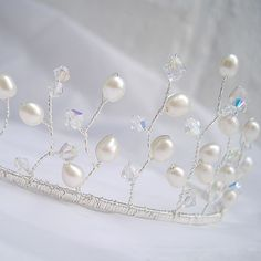 Bridal Hair Accessories - Wedding Tiara  Freshwater Pearls and Swarovski Crystals - Twisted silver wire. £44.00, via Etsy.