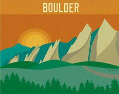 Boulder, Colorado Flatirons Scene Poster Print - Wall Art for Home, Office, and Nursery Rooms. $19.99, via Etsy.