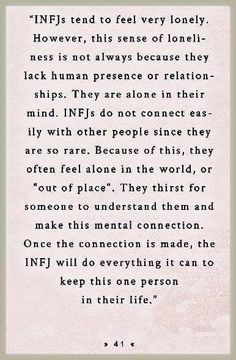 Once the connection is made, the INFJ will do everything they can to keep this one person in their life. Once the connection is made, the INFJ will do everything they can to keep this one person in their life. Infj Mbti, Intj And Infj, Enfj, Infj Traits, Infj Personality, Myers Briggs Personality Types, Personality Characteristics, Thats The Way, That Way