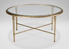 Ethan Allen Oval Glass Coffee Table