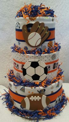 Sports All Star Diaper Cake by Gifted Occakesions n Baskets