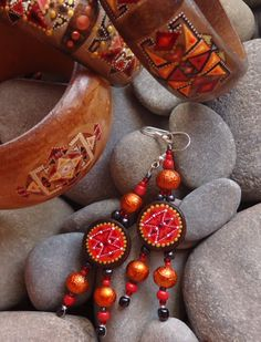 Wooden earrings with hand-painted... Ar-Mari Rubenian...