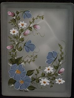 Designs by Cheryl Skalski-Hand Painted Glass Blocks Mehr Glass Painting Patterns, Glass Painting Designs, Block Painting, Stained Glass Designs, Fabric Painting, One Stroke Painting, Painted Glass Blocks, Lighted Glass Blocks, Hand Painted