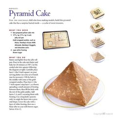 Pyramid cake - I think this is the basic template I will want to use to build the cake - but Isaac wants lemon flavor