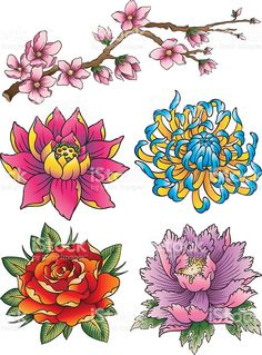The Beauty of Japanese Embroidery - Embroidery Patterns Japanese Tattoo Art, Japanese Tattoo Designs, Japanese Sleeve Tattoos, Flower Tattoo Designs, Japanese Flower Tattoos, Japanese Tattoo Meanings, Japanese Tattoos For Men, Asian Flowers, Oriental Flowers