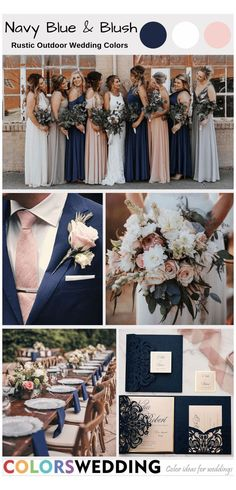 Blue And Blush Wedding, Blush Wedding Colors, Blue Suit Wedding, Wedding Color Schemes, Summer Wedding Colors, Tuxedo Wedding, Navy Wedding Themes, August Wedding Colors, Country Wedding Colors