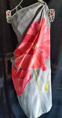 LADIES WHITE RED MAGNOLIA FLORAL FLOWER ABSTRACT PRINT LARGE SCARF WRAP