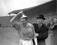 Alex Forbes with the lid of the FA Cup after the 1950 final win against Liverpool