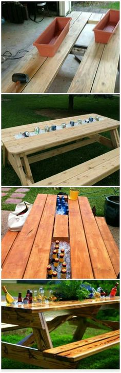 Timelessly Marvelously Functional And Easy Diy Picnic Table Ideas For Ideal Lunchtime Outside - Easy Diy Furniture Backyard Projects, Outdoor Projects, Home Projects, Backyard Ideas, Landscaping Ideas, Backyard Parties, Outdoor Crafts, Backyard Bbq, Summer Parties