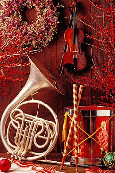 French horn Christmas still life - @Karen Jacot Julia - you're SO right! <3 love it!