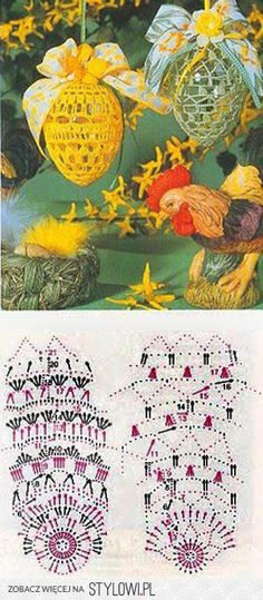 jajka   Kraina wzorów szydełkowych...Land crochet patte… na Stylowi.pl Crochet Stars, Thread Crochet, Easter Projects, Easter Crafts, Easter Crochet Patterns, Crochet Decoration, Knitted Flowers, Christmas Cross, Holiday Ornaments