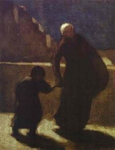 Woman and Child on a Bridge, 1845-1848 Honore Daumier