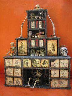 Creepy Apothecary, Halloween Decor, Cabinet of Curiosities, Apothecary Cabinet, Altered Art, Kaisercraft Advent Calendar, Witches Cauldron