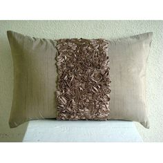 Decorative Oblong Lumbar Throw Pillow Cover Accent Pillow Couch Bed Sofa 12x16 Inch Brown Silk Ribbon Embroidered Home Champagne Brown Love  __________________________________________________________________________    Pillow Cover (Without Filler) on a Champagne Brown art silk dupioni fabric adorned romantically with a matching brown ribbon hand embroidered in the center of the pillow cover. Beautiful, delicate, romantic and magical for your lovely home.    Pillow Cover Size - 12 inches x…
