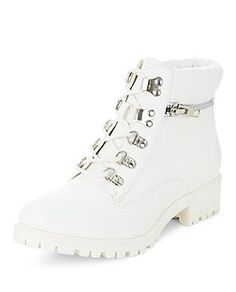 Teens White Lace Up Boots  | New Look