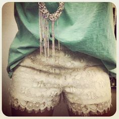 seafoam mint green white lace shorts layered sparkly necklace